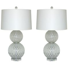 1stdibs.com | Pair of Vintage Murano Stacked Ball Lamps in Crystal- Swank Lighting