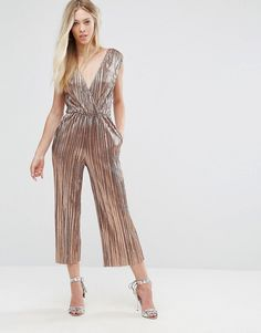 3d3d5d8f5ec8 Oh My Love Pleated Grecian Wrap Front Jumpsuit - Gold