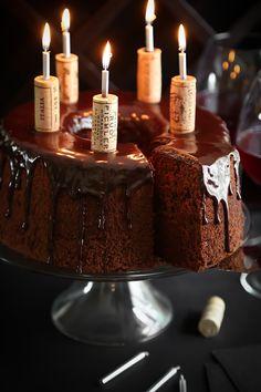 Chocolate Red Wine Chiffon Cake with chocolate ganache drip.
