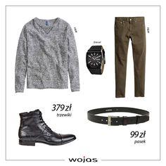 Szary sweter doskonale komponuje się ze spodniami w odcieniu khaki. Czarne trzewiki Wojas (4292-50) oraz pasek przeszyty czerwoną nicią (5975-51) to modne uzupełnienie męskiej stylizacji.