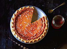 Salted honey pie.  butter, sugar, white cornmeal, vanilla paste, honey, eggs, heavy cream, white vinegar, kosher salt, sea salt.