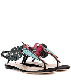 Valentino - Valentino Garavani embellished sandals - Opt for a playful look with these exquisite sandals from Valentino Garavani. An artful parrot adorns your foot along with meticulously cut out flowers and foliage, all punctuated with metallic accents. Wear yours with a distressed denim skirt on your next holiday for a carefree vibe. seen @ www.mytheresa.com