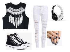 """""""Black and White"""" by styleme2005 on Polyvore featuring WithChic, Converse, Beats by Dr. Dre and alfa.K"""