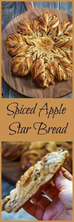Spiced Apple Star Bread is so good you can eat it with a meal or as a dessert. It's a sweetened buttery, bread that's tender and warm from the fall spices. This bread looks hard to make, but it's easi (Rustic Fall Recipes) Apple Recipes, Fall Recipes, Bread Recipes, Baking Recipes, Sweet Recipes, Holiday Recipes, Star Bread, Delicious Desserts, Yummy Food
