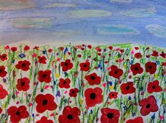 This week, Grade 3 painted these poppy landscapes in honour of Remembrance Day. They were inspired by a lesson I saw on Artsonia here . Remembrance Day Poems, Remembrance Day Activities, Classroom Art Projects, Art Classroom, 3rd Grade Art, Grade 3, Poppy Field Painting, Poppy Craft, Jr Art