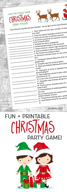 """Looking for fun Christmas games to play at your Christmas party? This is a fun """"guess these Christmas song titles"""" game that anyone can play! Christmas Games To Play, Xmas Games, Printable Christmas Games, Holiday Party Games, Christmas Activities, Christmas Holidays, Christmas Ideas, Christmas Stuff, Family Activities"""