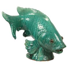 Large finely glazed green glazed figure of a koi fish. Fish Sculpture, Sculptures, Koy Fish, Chinoiserie Wallpaper, Ceramic Animals, Modern Ceramics, Art Furniture, Clay Projects, Asian Art
