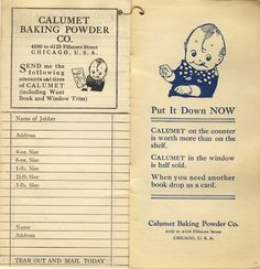 Calumet Bank Baking Powder Want