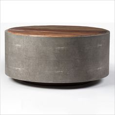 Four Hands Bina Crosby Rustic Modern Round Wood Coffee Table With Grey  Frame In Brown