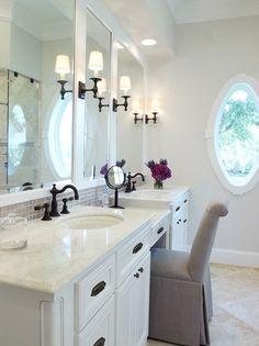 Three Mirrors | Bathroom Vanity | Purple Hydrangea | Porthole Window | Boutique Hotel | Home Design | Bathroom