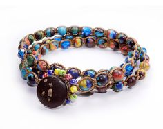 OOAK  Rainbow Stone and Swarovski crystal Macrame by GemsdeVine, $45.99