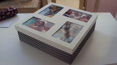 Caixa para fotos forrada em tecido - aluna Maria