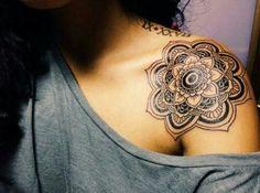 ... Front Shoulder Black mandala design tattoo on girl left front shoulder