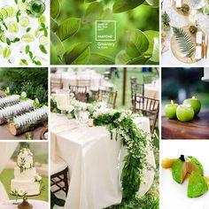Décoration de mariage couleur Vert Greenery – Pantone 2017  #decoration #table #mariage #tendance #planche #moodboard #vert #green #greenery #pantone