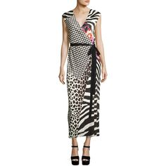 Marc Jacobs Mixed-Media Sleeveless Jersey Wrap Dress (33 135 UAH) ❤ liked on Polyvore featuring dresses, black, v-neck maxi dresses, maxi dress, wrap dress, long maxi dresses and floral wrap dress