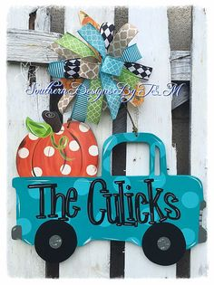 How stinkin cute is this!!? This pickem truck is perfect for anyone and the whole family would love it!! It is such a happy piece to add to