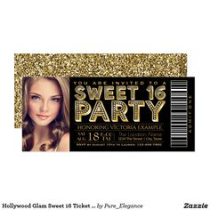Hollywood Glam Sweet 16 Ticket Black and Gold Card