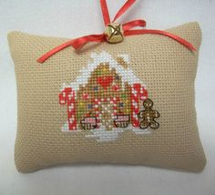 Gingerbread House Cross Stitched Ornament / Christmas by luvinstitchin4u on Etsy