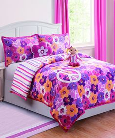 Look at this Fuchsia Liliana Reversible Comforter Set on #zulily today!