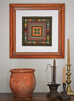 Oak Leaf in beautiful hand-grained frame. At home with collection of 19th c. folk art. ninepatchstudio.com