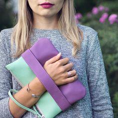 Lilac clutch, mint clutch, vegan bag, vegan clutch, lilac purse, mint purse.