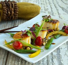 Pan Seared Scallops. The crispy sear holds in the juices. http://www.chefd.com/collections/all/products/pan-seared-sea-scallops