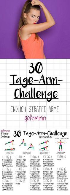 Die ganze Challenge gibt\'s zum Ausdrucken bei gofeminin.de. Verabschiedet euch von Winkearmen - mit der 30-Tage-Arm-Challenge bekommt ihr straffe Arme!