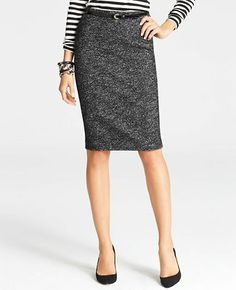 Tall Wool Blend Tweed Pencil Skirt
