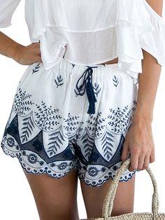 5da5c371a19 Women s Boho Embroidered Tassel Drawstring Cotton Beach Shorts - White -  CS12NS7Y41D. Chamsgend Durable 2017 hot summer ...