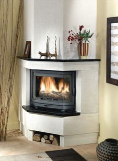 Contemporary Corner Fireplace Wood Burning Closed Hearth Cs 38