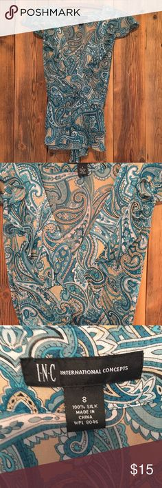 INC International Concepts Blouse Ruffled front, tie in back. Paisley print INC International Concepts Tops Blouses