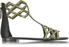 Giuseppe Zanotti Black Suede Flat Sandal w/Crystals | FORZIERI saved by #ShoppingIS