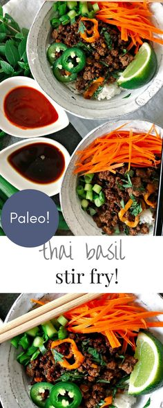Paleo Thai Basil Beef Stir Fry This mouthwatering beef stir fry is Paleo but it is easy enough for a weeknight meal and the flavors will have everyone going back for seconds! Paleo Recipes, Asian Recipes, Ethnic Recipes, Yummy Recipes, Delicious Meals, Thai Basil Beef, Beef Stir Fry, Paleo Stir Fry, Clean Eating
