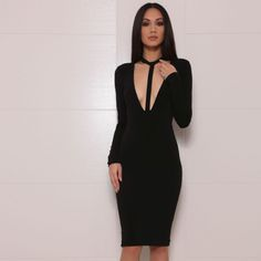 Wholesale New Dress Black and white Deep V neck Long sleeve Sexy Cocktail party  Bandage dress (H0734)-in Dresses from Women s Clothing   Accessories on ... a21362f30
