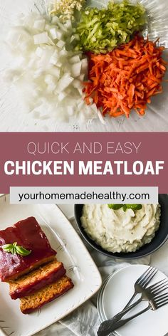 This is not your grandma's average meatloaf recipe! Healthy chicken meatloaf with hidden veggies is an excellent dinner to serve your entire family. It utilizes fresh and healthy ingredients, so you know your family will be eating a delicious, yet nutritious meal. You can easily substitute the ground chicken for ground turkey. With the added vegetables, it stays soft and moist with the best punch of flavor. Ground Chicken Meatloaf, Ground Chicken Recipes, Healthy Chicken Recipes, Healthy Dinner Recipes, Hidden Veggies, Ground Turkey, Nutritious Meals, Punch, Stuffed Peppers