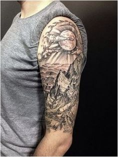 75 ideas and tips for your first or next upper arm tattoo .- 75 Ideen und Tipps für Ihr erstes oder nächstes Oberarm Tattoo – Wohnideen und Dekoration Ideas and tips for your first or next upper arm tattoo landscape mountains and moon - Half Sleeve Tattoos For Guys, Half Sleeve Tattoos Designs, Full Sleeve Tattoos, Tattoo Sleeves, Mens Half Sleeve, Tattoo Neck, 100 Tattoo, Tattoo Forearm, Half Sleeve Tattoos Nature