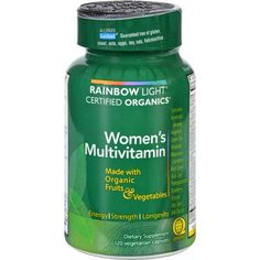 Rainbow Light Certified Organics Women's Multivitamin Description: Made with Organic Fruits and Vegetables Allergen SafeGuard Energy Strength Longevity Reach a