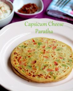 capsicum-cheese-paratha--- not a great tasting paratha. Jain Recipes, Paratha Recipes, Indian Food Recipes, Vegetarian Recipes, Indian Snacks, Jain Food Recipe, Roti Recipe, Indian Appetizers, Breakfast Recipes