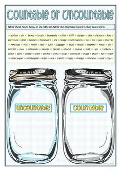 Grammar practice on nouns. Students fill in the jars with countable or uncountable nouns given. They write the countable nouns in their plural form. Teaching English Grammar, English Grammar Worksheets, English Vocabulary, Esl Lessons, English Lessons, Learn English, English Study, Grammar Quiz, Grammar Practice