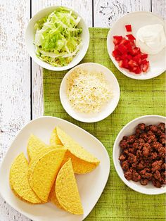 Set up a taco bar on your kitchen counter tonight here weve got all the fixings youll need so each member of your family can customize their own.