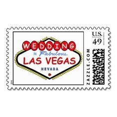 WEDDING In Fabulous Las Vegas Cherry logo postage