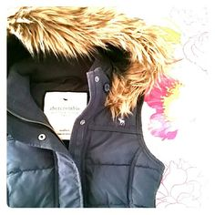 Abercrombie Vest Faux fur lined hood is removable. So soft adorable vest. Fill is 65% waterfowl feather 35% down. This is a YOUTH medium. EUC! Abercrombie & Fitch Jackets & Coats Vests