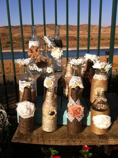 Vintage Rustic Chic Wedding Vase Bottle Centerpieces