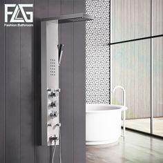 FLG 304SUS Bathroom Thermostatic Rain Shower Panel Brushed Nickel Shower Column Tub Jets Hand Shower Wall Panels  #Affiliate