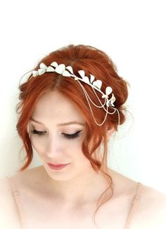 Pearl crown, ivory headpiece, bridal head piece, wedding headband, headdress, hair accessory - Luna by gardensofwhimsy on Etsy