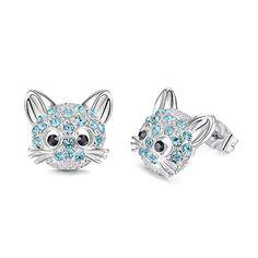 Women Men Charm 3D Cat Face Time Gem Necklace Pendant With Cat Ear Gift