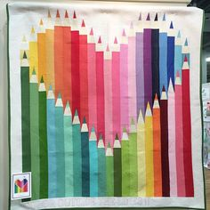 Kelli Fannin designed this pencil quilt in the @rileyblakedesigns booth, so amazing!!! #quiltmarket