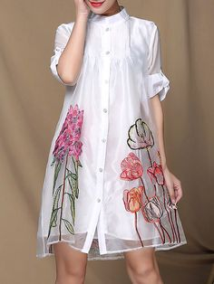 White Organza Casual Swing Floral-print Midi Dress ~ (I would  wear it as a blouse with white skinny pants!)