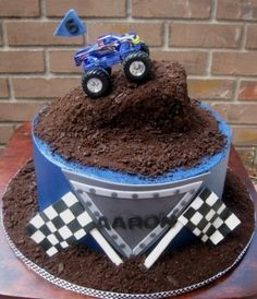 Use oreo crumbs as dirt for Blake's Birthday cake