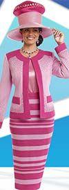 Donna Vinci Knits 13187 Embellished Womens Knit Skirt Suit With Stripes